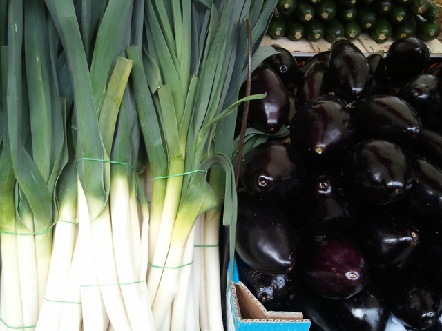 leeks and aubergines